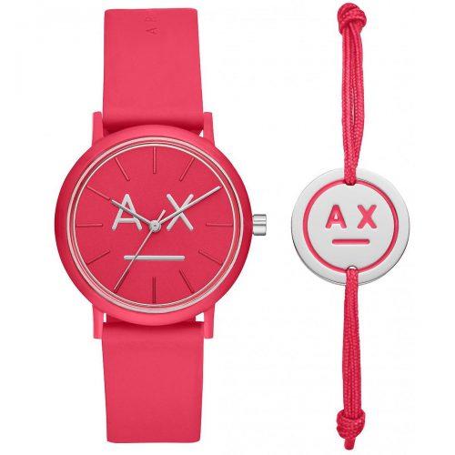 Armani Intercambio AX7110 Caja Set - Pulsera de accesorios rosa - caso de rosa de silicona