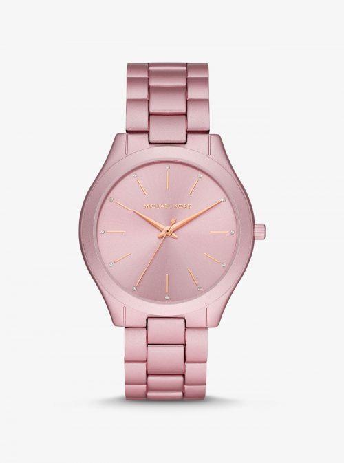 Reloj Runway fino oversize de aluminio en tono rosa