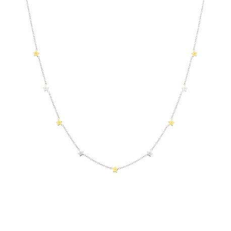 Collar Mr. Wonderful Sparkling plateado y dorado WJ20302